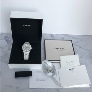 Chanel J12 38 mm mother of pearl and diamond watch
